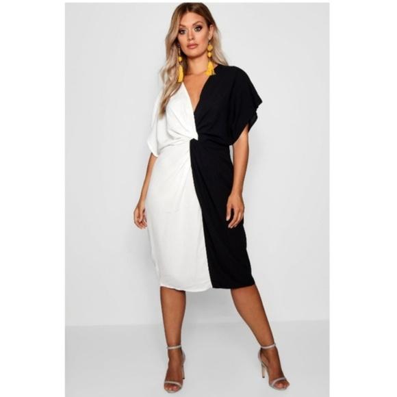 New Boohoo Black White Twist Colorblock Dress Boutique